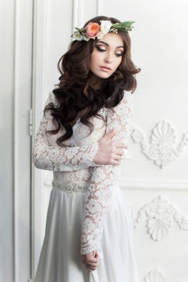 Vintage Long Sleeve White Lace Bridal Gown V-Neck Long Sweep Train Plus Size Wedding Dress_2