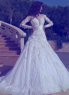 Elegant Long Sleeves Tulle Wedding Dresses 2021 | Sexy Sheer Appliques Wedding Dress Online_1