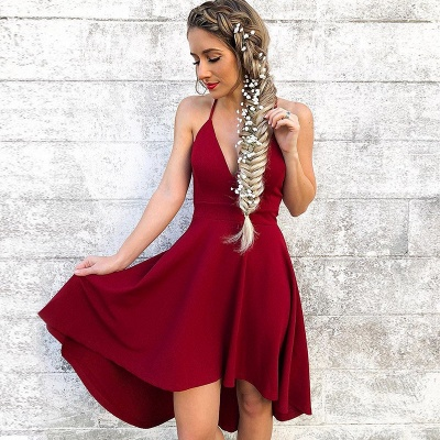 Newest Red Spaghetti Strap A-line Homecoming Dress   Short Party Gown_3