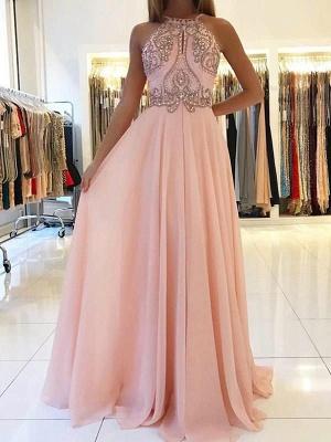 Modest Pink Beads A-line Prom Dress | Chiffon Prom Dress_1