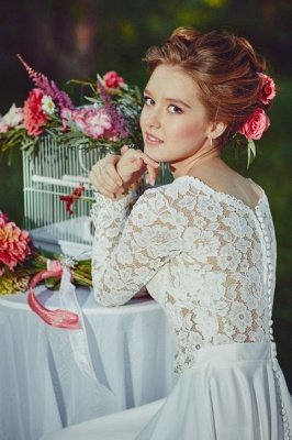 Vintage Long Sleeve White Lace Bridal Gown V-Neck Long Sweep Train Plus Size Wedding Dress_5