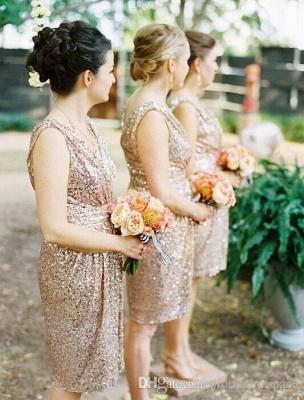 V Neck Gold Sequins Short Bridesmaid Dresses Maid of Honor Dresses_3
