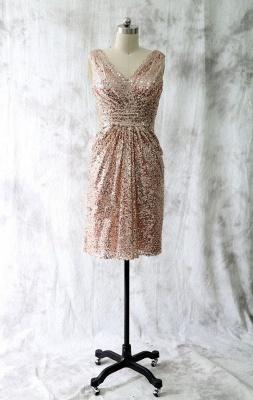 V Neck Gold Sequins Short Bridesmaid Dresses Maid of Honor Dresses_1