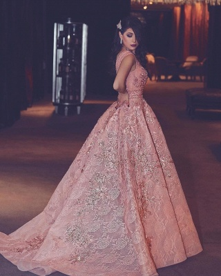 Flowers Beading Luxury Pink Puffy V-Neck Lace Evening Gowns_4
