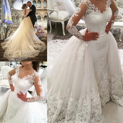 Sexy V-Neck Tulle Long Sleeve Lace Appliques Detachable Overskirt Wedding Dresses_5
