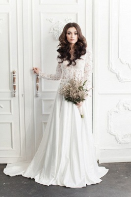 Vintage Long Sleeve White Lace Bridal Gown V-Neck Long Sweep Train Plus Size Wedding Dress_3