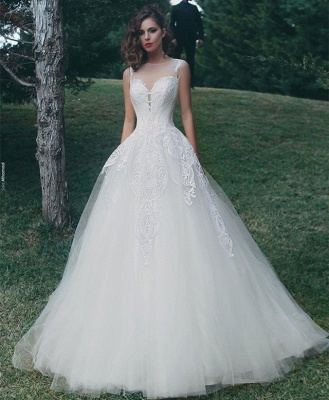 Tulle A-Line Appliques Sleeveless Glamorous Wedding Dresses Cheap Online_3