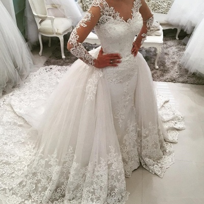 Sexy V-Neck Tulle Long Sleeve Lace Appliques Detachable Overskirt Wedding Dresses_4