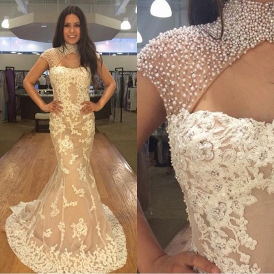 Newest Pearls High Neck Mermaid Lace Appliques Prom Dress_3
