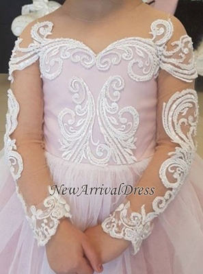 Ball Flower Long-Sleeve Lace Romantic Gown Girls Dresses_3