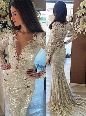 Sequins Mermaid Long Prom Dresses | Cheap Long Sleeve formal Dress BA7215_1