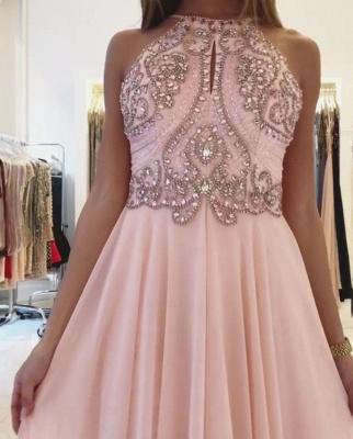 Modest Pink Beads A-line Prom Dress | Chiffon Prom Dress_4