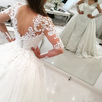 Sexy V-Neck Tulle Long Sleeve Lace Appliques Detachable Overskirt Wedding Dresses_3