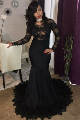 Long Black Lace Tulle Prom Dresses | Mermaid Long Sleeve Cheap Formal Gowns FB0277_1