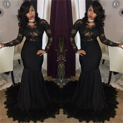 Long Black Lace Tulle Prom Dresses | Mermaid Long Sleeve Cheap Formal Gowns FB0277_3