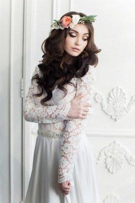 Vintage Long Sleeve White Lace Bridal Gown V-Neck Long Sweep Train Plus Size Wedding Dress_2