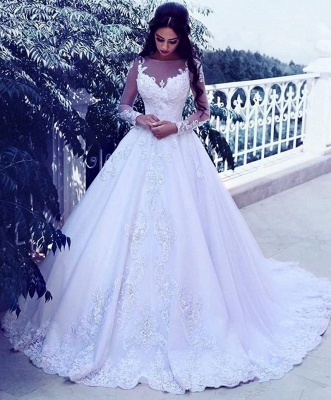 Elegant Tulle Appliques Long Sleeves Wedding Dresses Bridal Ball Gowns_3