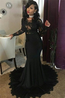 Long Black Lace Tulle Prom Dresses | Mermaid Long Sleeve Cheap Formal Gowns FB0277_4