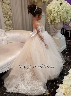 Ball Flower Long-Sleeve Lace Romantic Gown Girls Dresses_1
