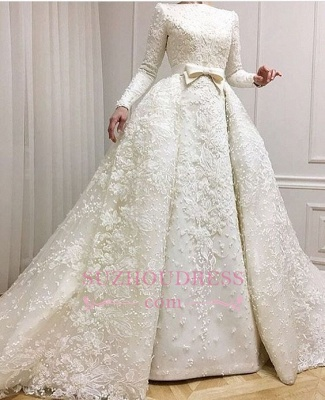 Luxury Beaded Lace-Applique Long-Sleeves Jewel Ball-Gown Wedding Dresses with Over-Skirt CD0071_1