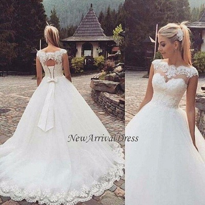 Cap Sleeve Lace-Up Bowknot Back Ball Gown Wedding Dresses Cheap_1