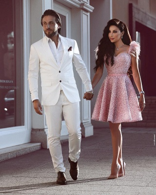 Classic Beading Homecoming Dress  Luxury Feather Pink Party Dress_3