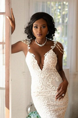 Beads Appliques Spaghetti Straps V-neck Wedding Dresses | Open Back Memaid Tulle Bridal Gowns_1