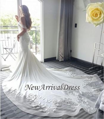 Elegant New Arrival Mermaid Sexy Off The Shoulder Train Beautiful Lace Appliques Wedding Dresses_1