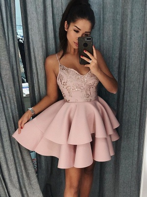 Newest Pink Spaghetti Strap Ruffles Homecoming Dress | Short Party Gown BA9891_1