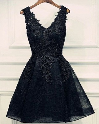 Lace Appliques Beads V-Neck Lace-Up Black Sexy Short Homecoming Dresses BA6904_2