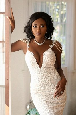 Beads Appliques Spaghetti Straps V-neck Wedding Dresses | Open Back Memaid Tulle Bridal Gowns