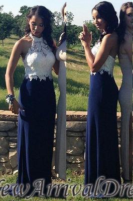 Navy-Blue Sheath Halter-Neck Lace-Top Elegant Prom Dresses_3