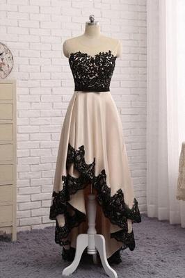 Elegant Illusion Sleeveless Hi-Lo Custom Made A-line Prom Dresses Cheap BA7504_1