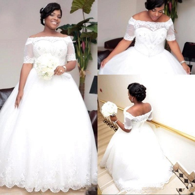 Modest White Lace Half-Sleeve Ball-Gown Wedding Dress_4