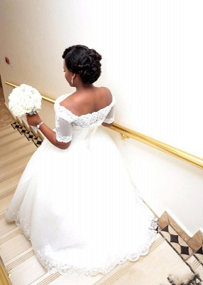 Modest White Lace Half-Sleeve Ball-Gown Wedding Dress_3
