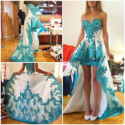 Blue Lace Applique Hi-lo Prom Dresses Ruffles Sweetheart Neck Sweep Train Homecoming Dresses_3