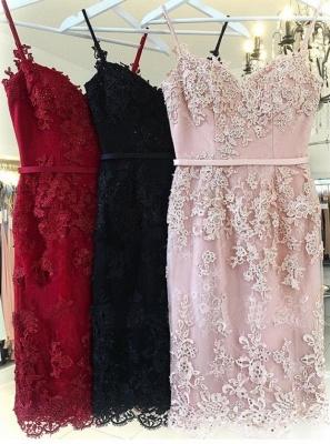 Gaine rose élégante robes de bal courtes | Robes de cocktail sans manches à bretelles fines_4