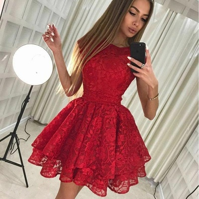 Cute Red Lace Jewel Ruffled Homecoming Dress | Short Party Gown_3