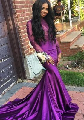 Purple Long-Sleeve Mermaid Lace Prom Dress | Cheap Prom Dress_2