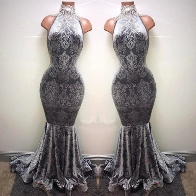 Silver Mermaid Long Prom Dresses Cheap | Sleeveless High Neck Plus Size Formal Dresses BA8233_1