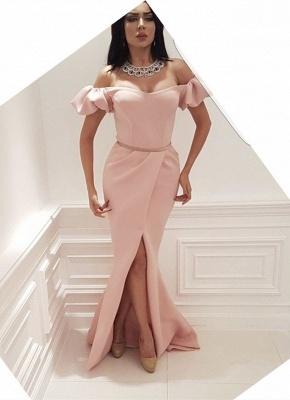 Simple Juliet Short Sleeve Mermaid Prom Dress | Front Split Prom Dress_1