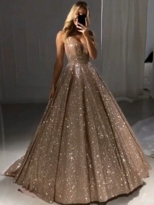 Shiny Gold Ball Gown Evening Dresses   Sexy V-Neck Sequin Prom Dresses_1