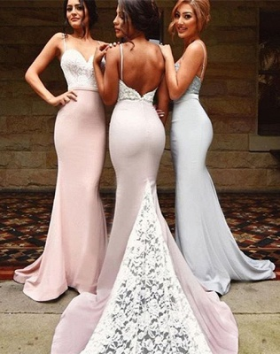 Spaghettis Straps Lace-Top Backless Mermaid Bridesmaid Dresses_1
