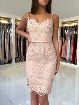 Gaine rose élégante robes de bal courtes | Robes de cocktail sans manches à bretelles fines_3