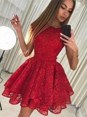 Cute Red Lace Jewel Ruffled Homecoming Dress | Short Party Gown_1