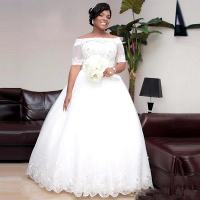 Modest White Lace Half-Sleeve Ball-Gown Wedding Dress_5