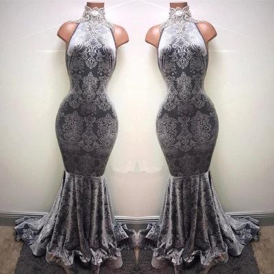 Silver Mermaid Long Prom Dresses Cheap   Sleeveless High Neck Plus Size Formal Dresses BA8233_1