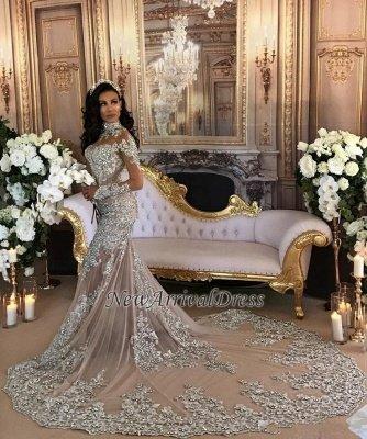 Hermosos vestidos de novia de sirena de cuello alto de plata de lujo de manga larga de encaje_1