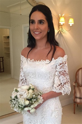 Sexy Off The Shoulder Simple Half Sleeves Beautiful Lace Wedding Dresses_4
