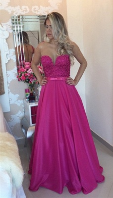 New Arrival A-Line Sleeveless Prom Dresses Sheer Illusion Beaded Evening Gowns with Bow BT00_1